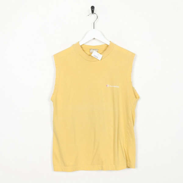 Vintage 90s CHAMPION Small Logo Sleeveless Vest Top T Shirt Yellow XS