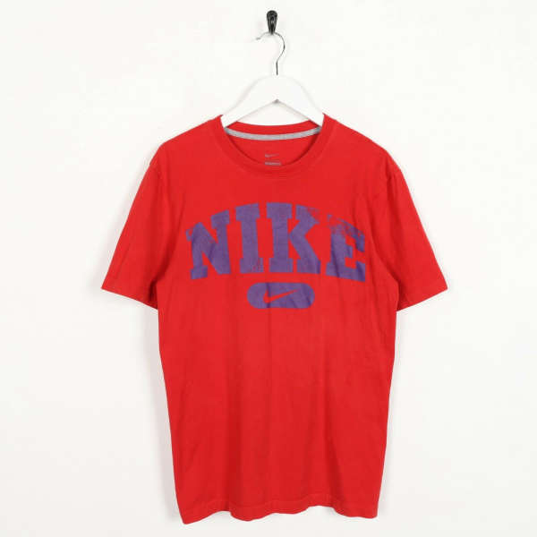 Vintage NIKE Big Spell Out Logo T Shirt Tee Red Small S