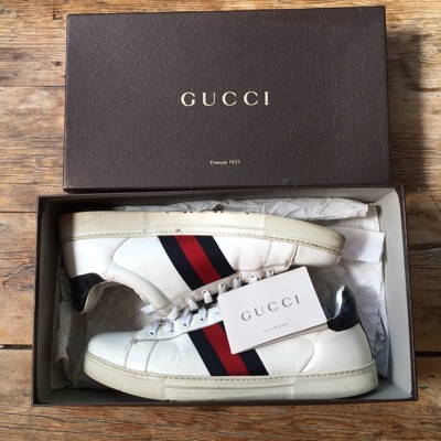 Gucci Ace Navy Red Stripe Trainer
