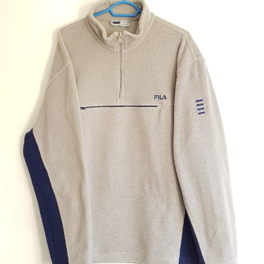 Polaire / Sweat HalfZip Fila Vintage Années 90 Made in Italy Taille XL.