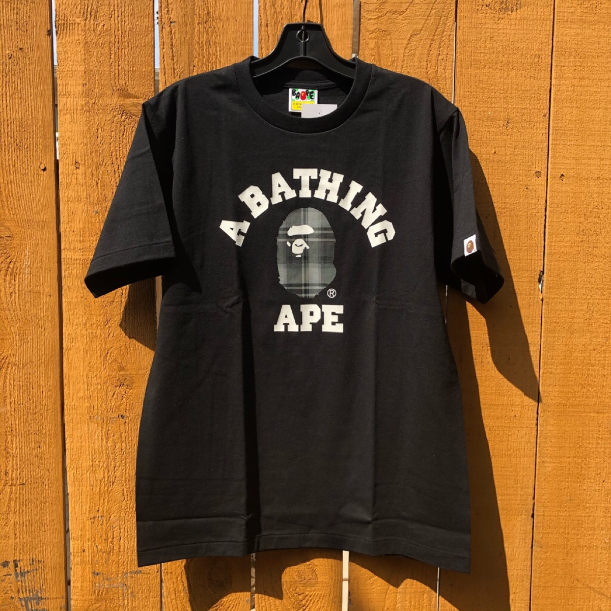 Bape Bathing Ape Check College Tee Size Medium Black