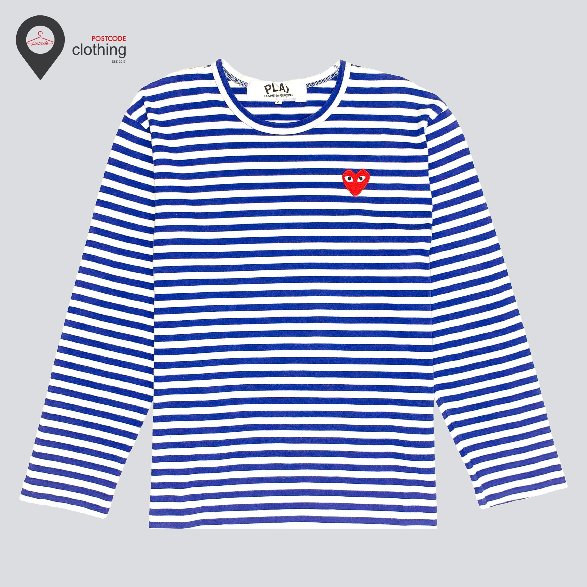Cdg Play Red Heart Long Sleeve - Blue/White