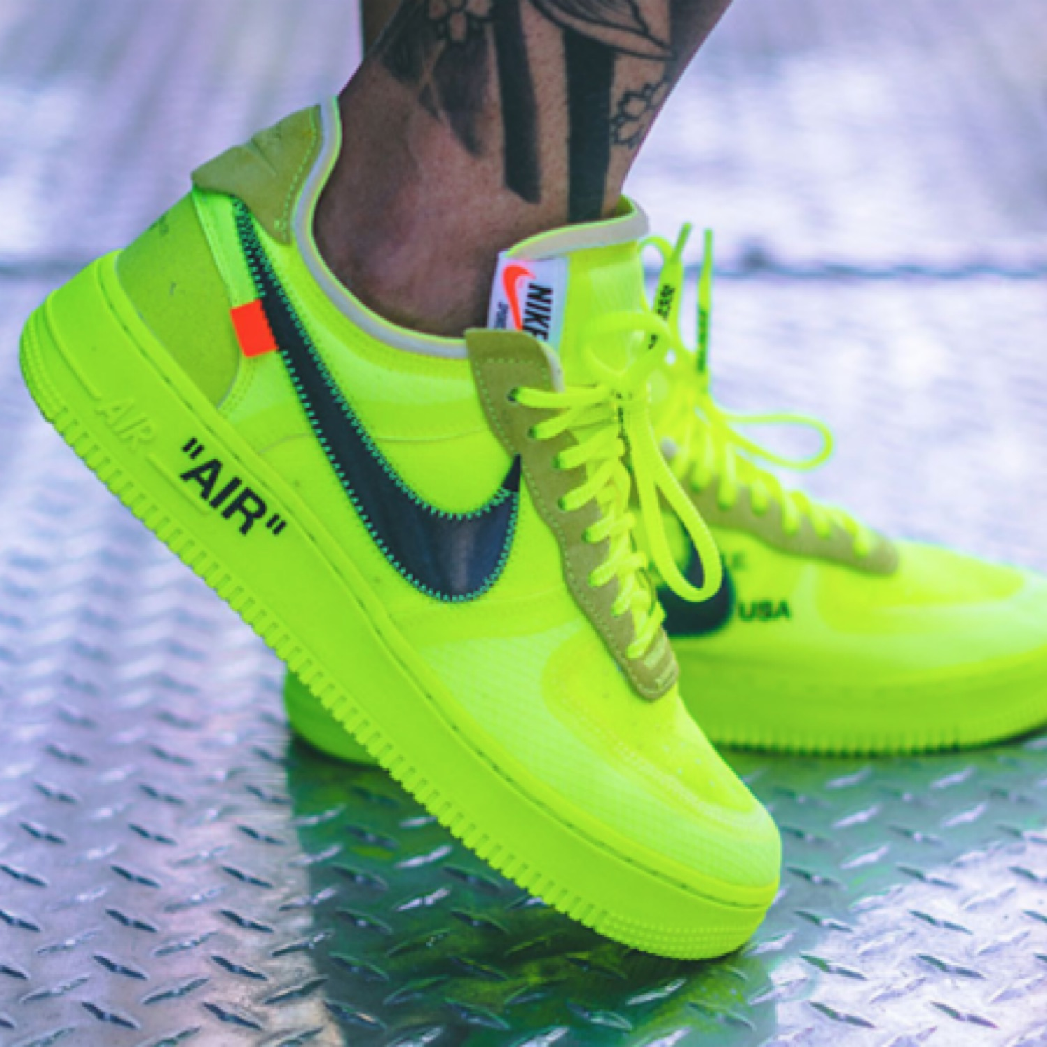 Off White X Nike Af Air Force 1 Volt Neon Green