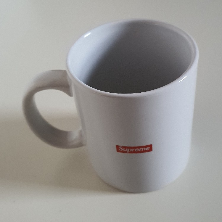 Very Rare SS12 Supreme Origin Ceramic White Mug Red Box Logo