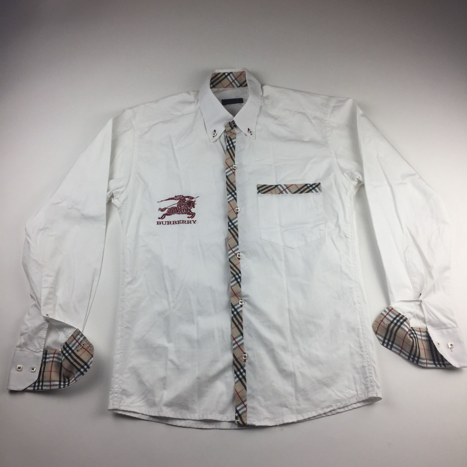 burberry shirt with red writing