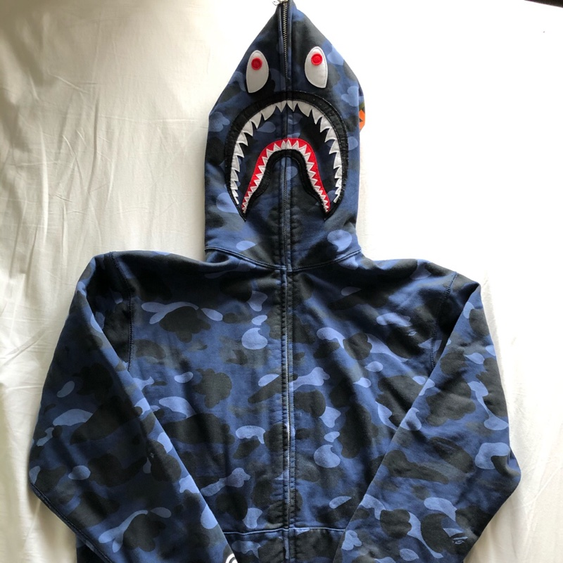 Bape Full Zip Up Shark hoodie jacket Blue Camo