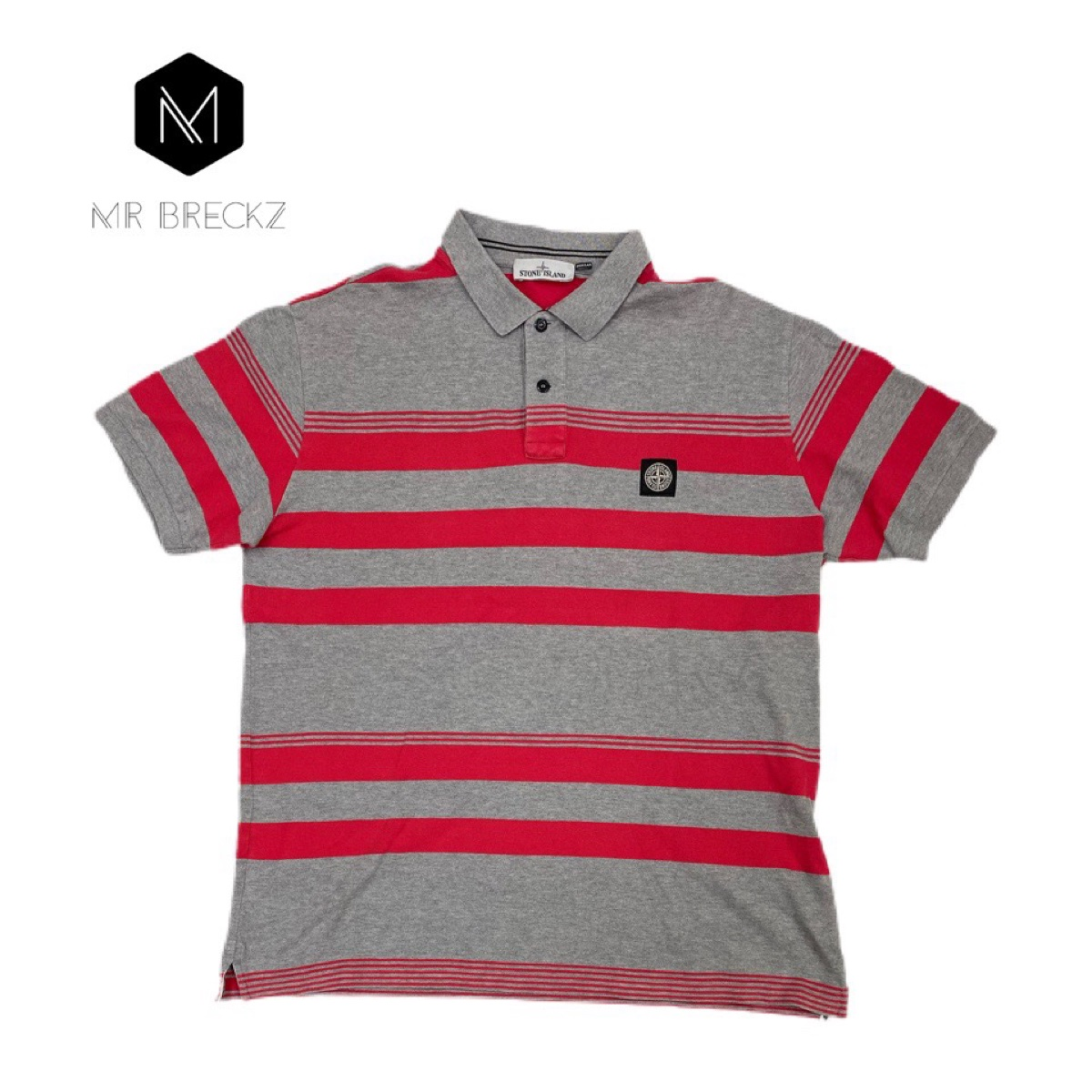 Authentic stone island red & grey striped polo