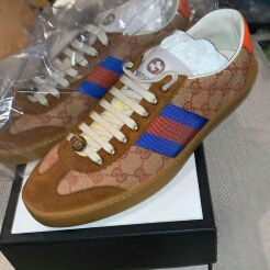 Gucci Brown, orange and blue original GG and Swede Web sneakers RPP £445