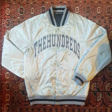 The Hundreds Varsity Jacket Silver & Grey Size M