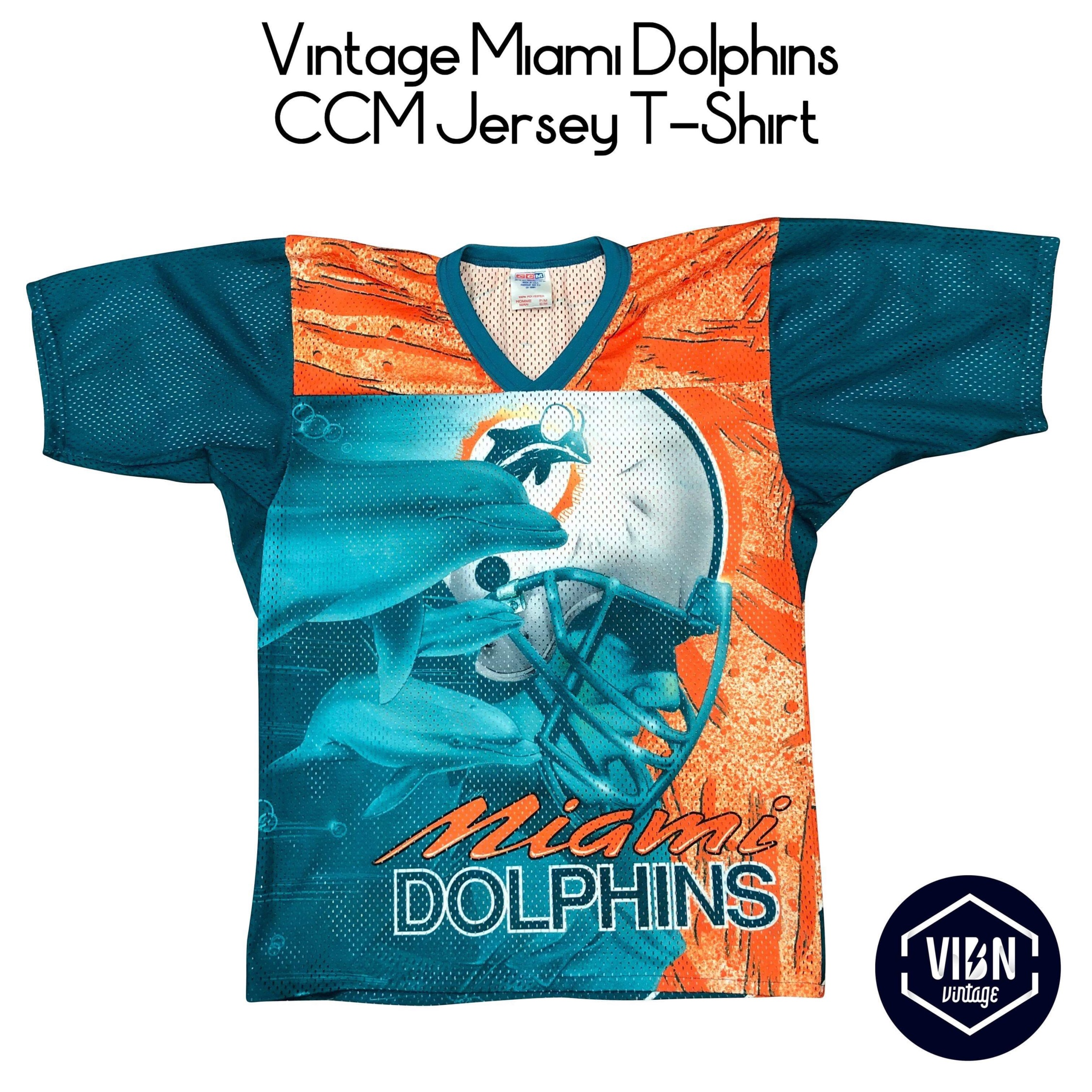 hot sale online ee2a5 b756c Vintage Miami Dolphins Ccm Jersey T-Shirt