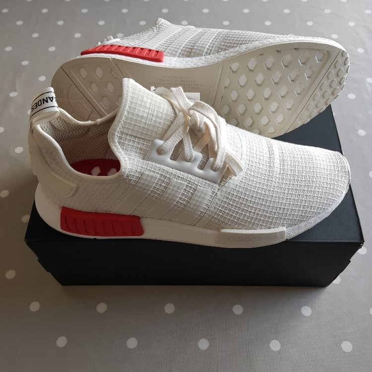 quality design b6ee2 74163 Adidas Nmd R1 Off White/Lush Red