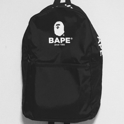 Bape Backpack Black Logo Book Bag A Bathing Ape