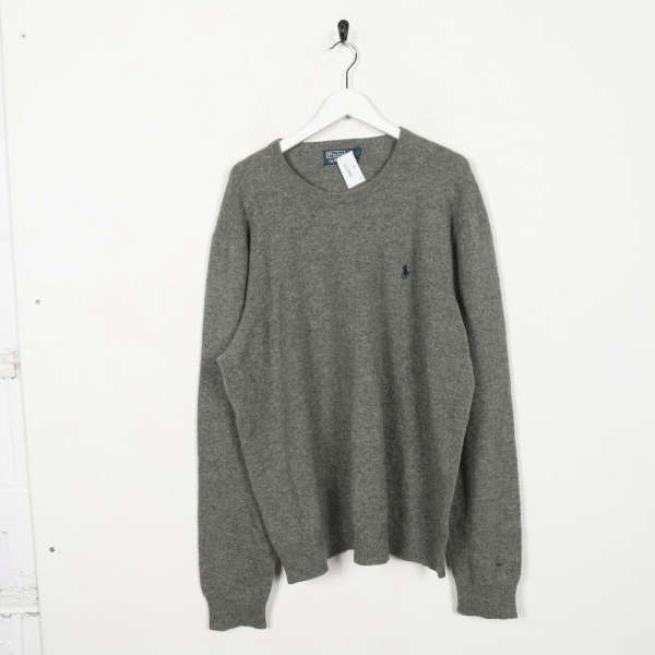 Vintage RALPH LAUREN Small Logo Knitted Sweatshirt Jumper Grey | XL