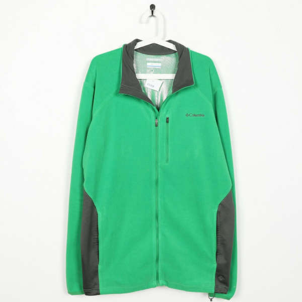 Vintage COLUMBIA Small Logo Zip Up Fleece Top Green | 2XL