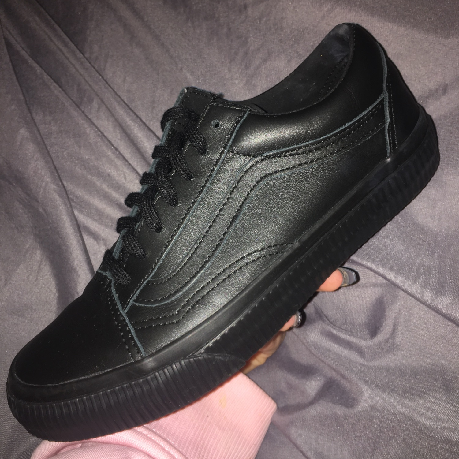 Vans Old Skool Leather Trainers In Black Va38g1nqr | 2019