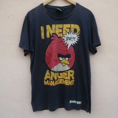 DISCOLOURED ANGRY BIRD BIG LOGO TEE