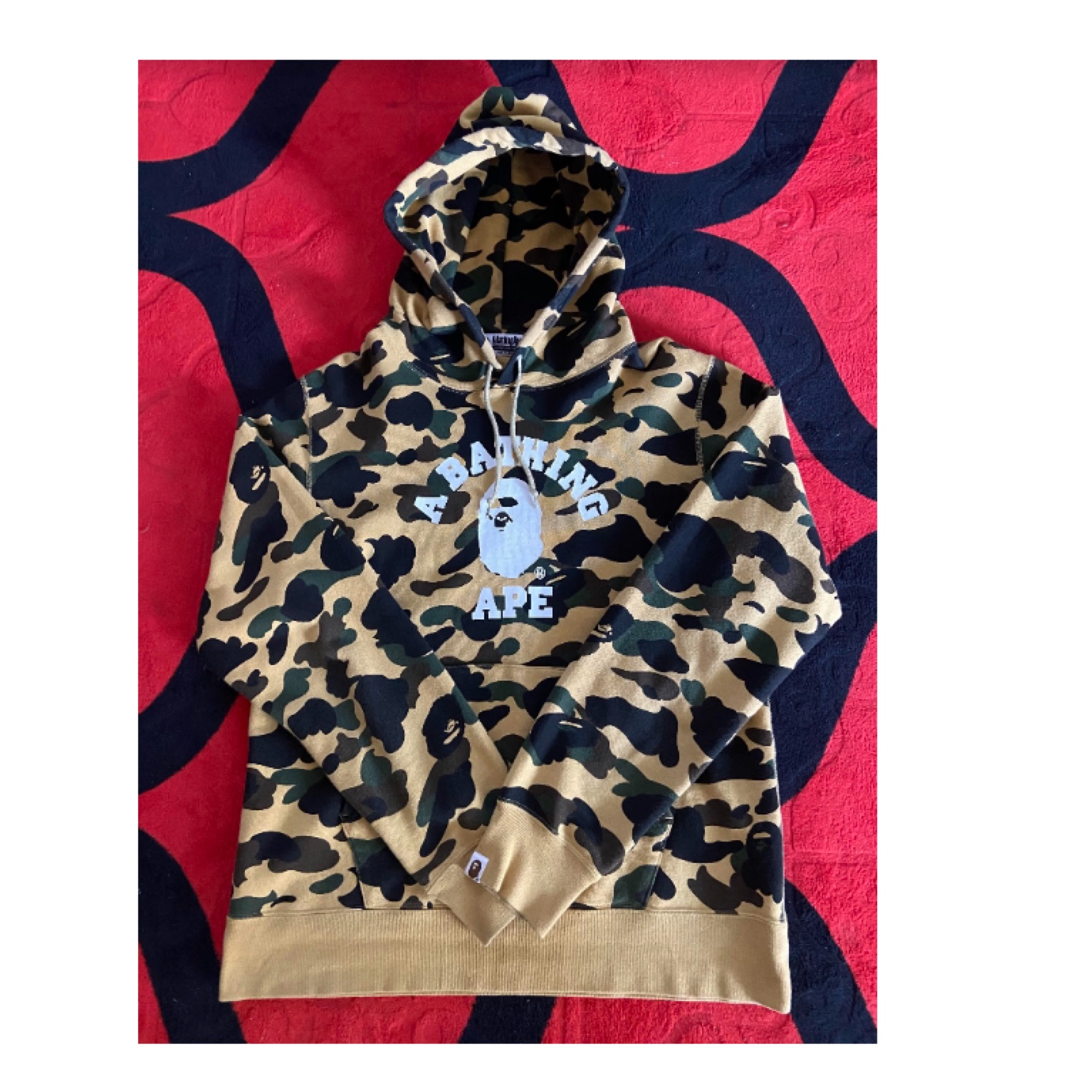 Bape 1St Camo College Pullover Hoodie Yellow