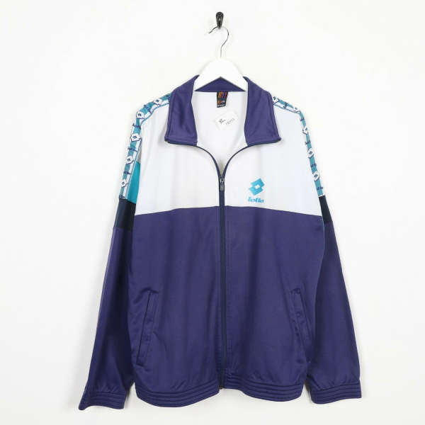 Vintage 90s LOTTO Tape Arm Logo Tracksuit Top Jacket White Purple XL