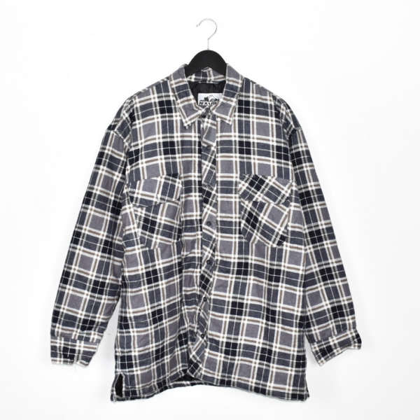 Vintage Old Mill padded thick button down formal shirt long sleeve blouse windbreaker jacket in grey and black