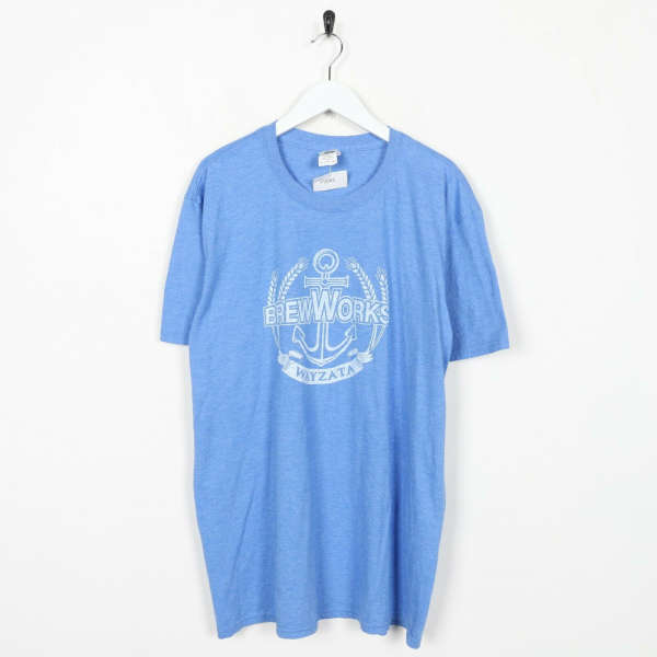 Vintage Novelty Graphic Brew Works graphic Logo T Shirt Tee Blue XL