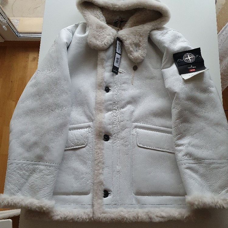Supreme Stone Island Hand Painted Hooded Shearling Jacket White