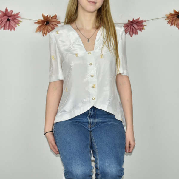 Super cute elegant spellout Yves Saint Laurent V-neck flowy blouse top t-shirt in gold and white