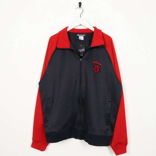 Vintage REEBOK Small Logo Zip Up Track Top Jacket Red Black | XL