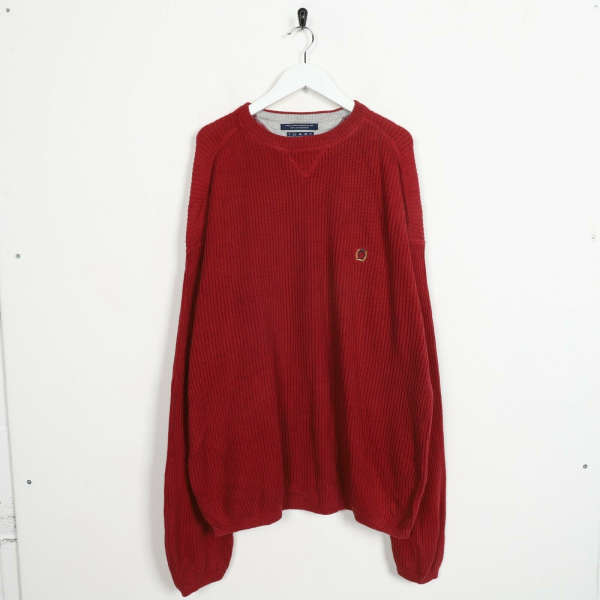 Vintage TOMMY HILFIGER Small Logo Knitted Sweatshirt Jumper Red XL