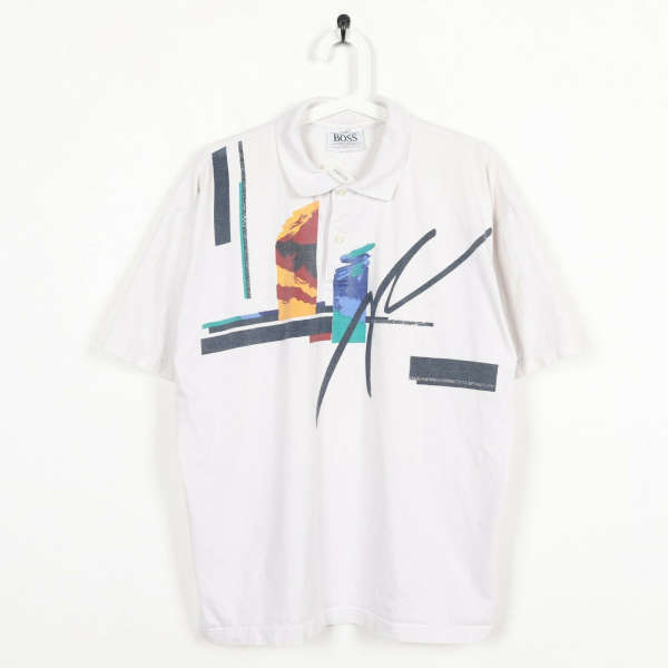 Vintage HUGO BOSS SPORT Graphic Polo Shirt Top White | 2XL