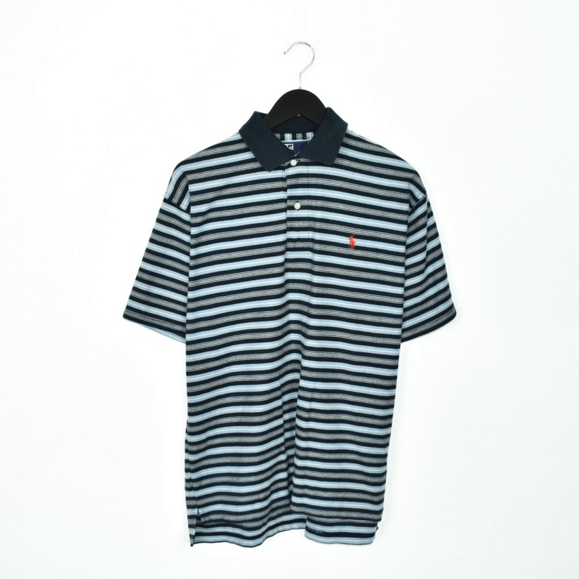 Vintage striped Ralph Lauren polo shirt t-shirt pullover in blue