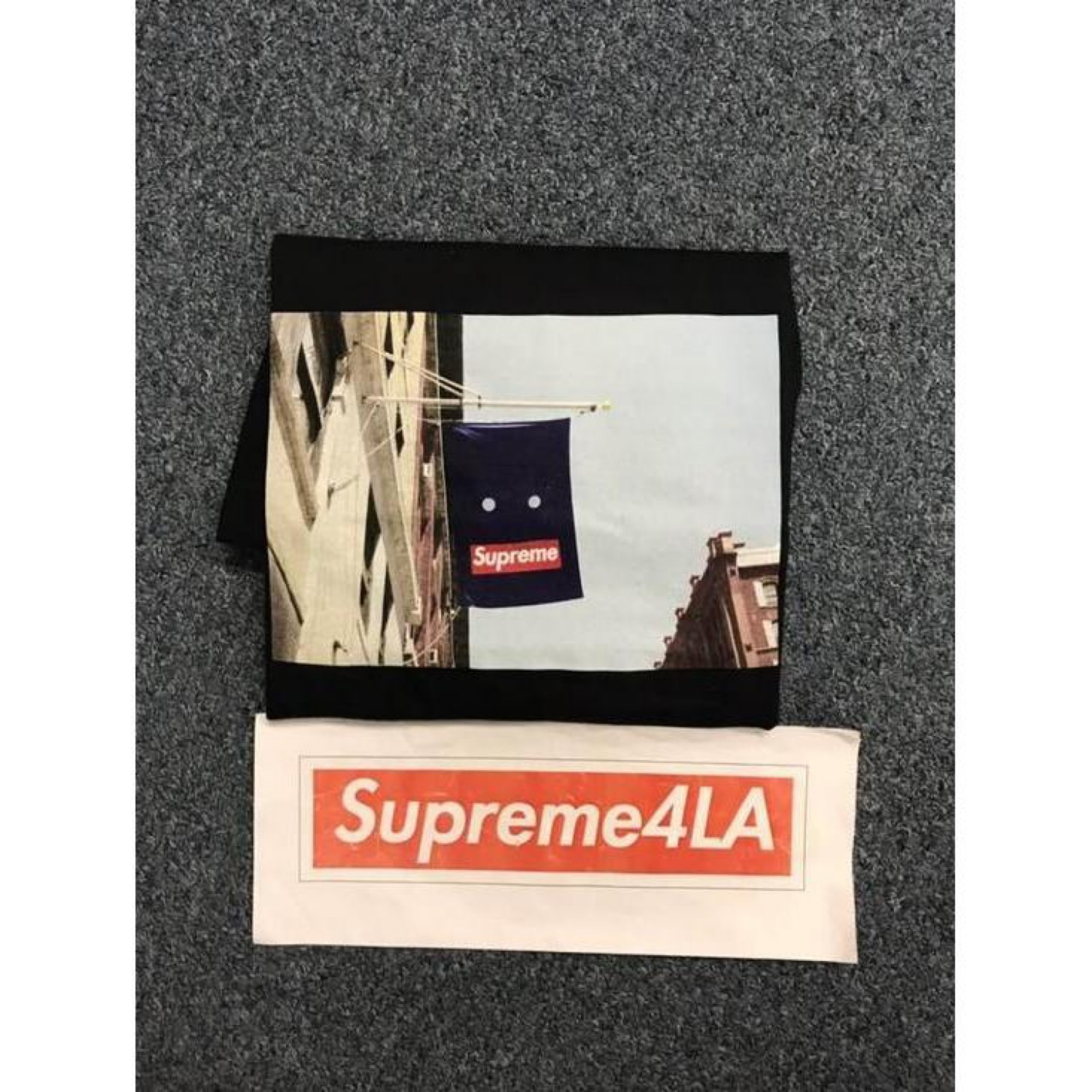Supreme 19F//W Banner Tee Black Size M 1000/% Authentic in Hand