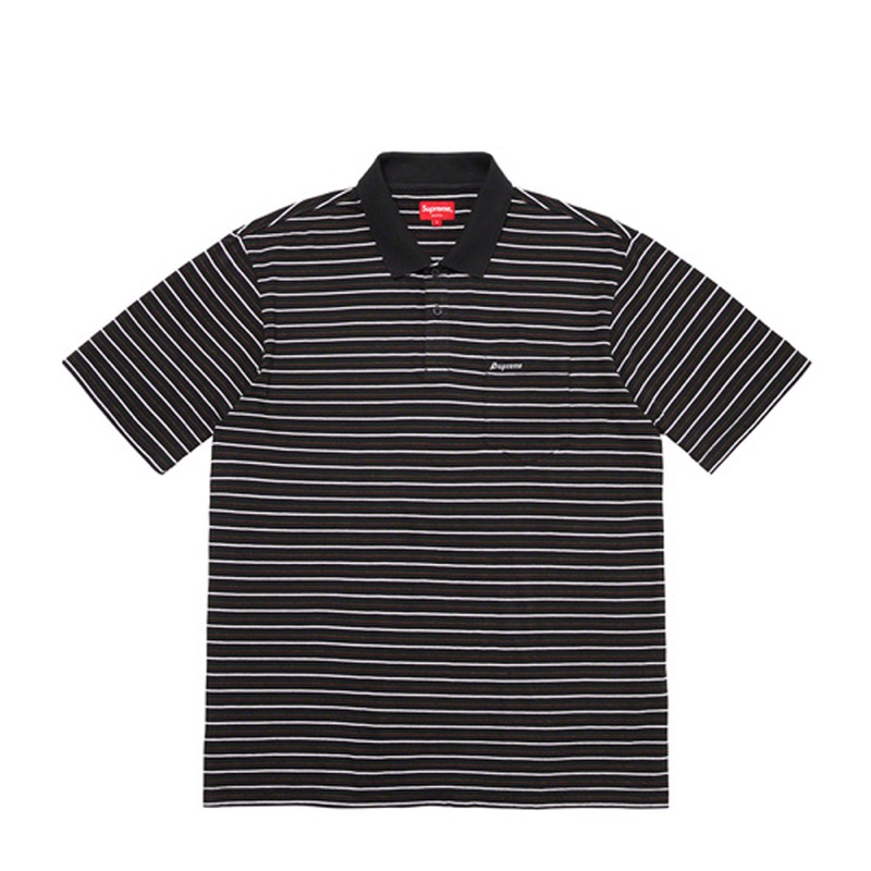 Supreme Thin Stripe Polo Black