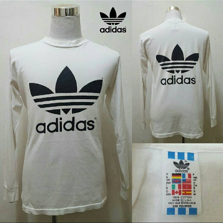 5f1b890be Free shipping Vtg 90's Adidas Trefoil Big Logo T Shirt Made in USA
