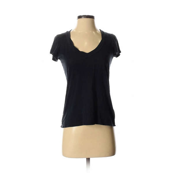 James Perse Women Black Short Sleeve Top S