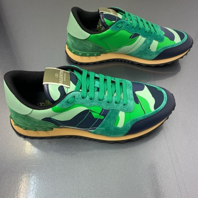 Valentino Leather Rockrunner Trainers - Mint Green