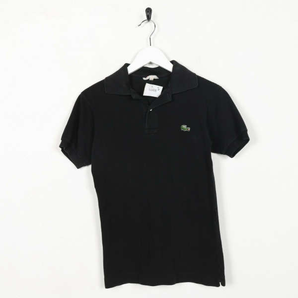 Vintage Women's LACOSTE Small Logo Polo Shirt Top Black | Small S