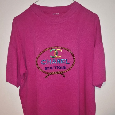 Chanel Vintage Bootleg Tee T-shirt Embroidered Single Stitch
