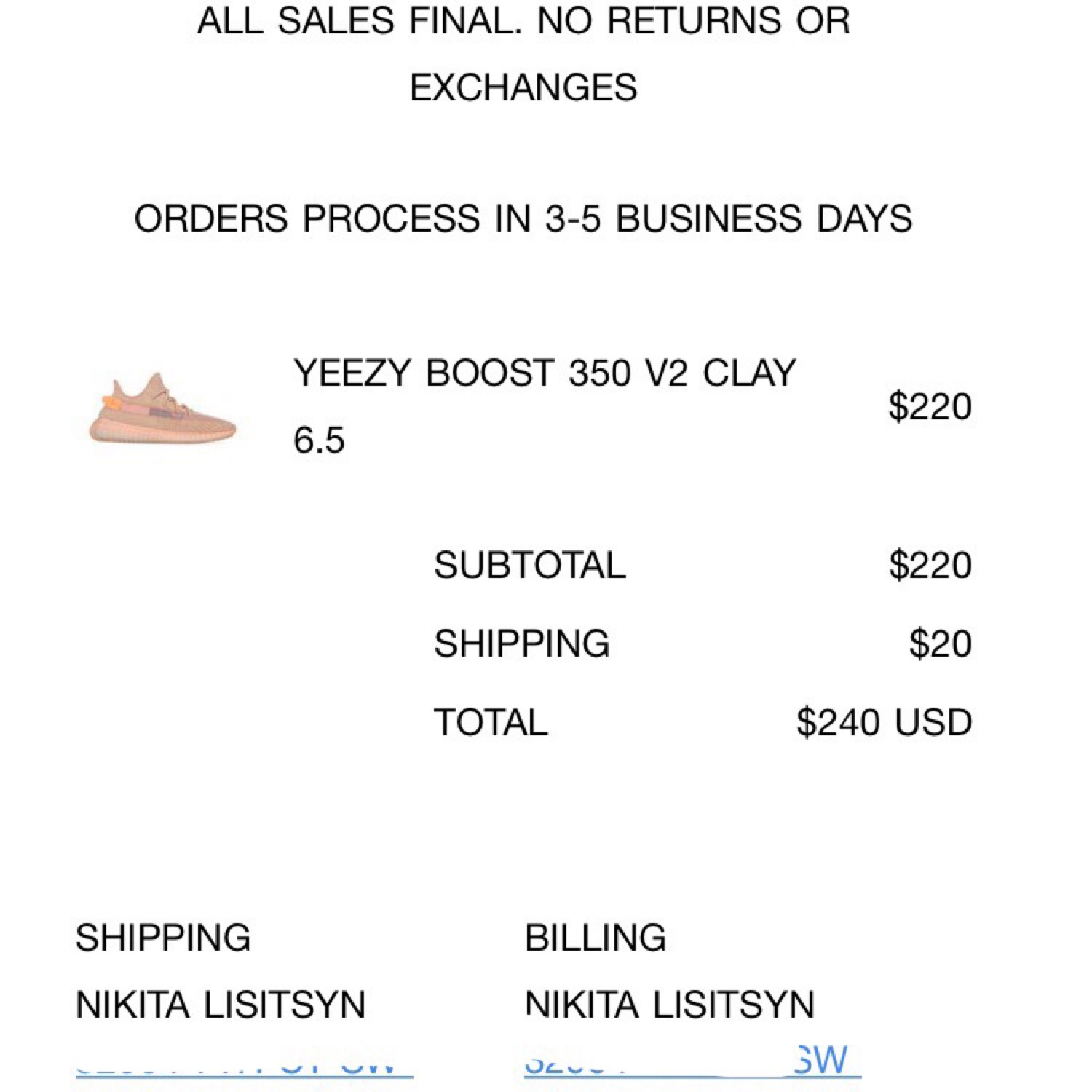 Yeezy Boost 350 V2 Clay Size 6:5