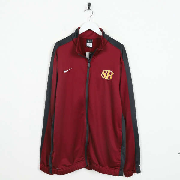 Vintage NIKE Small Logo Tracksuit Top Jacket Red | XL