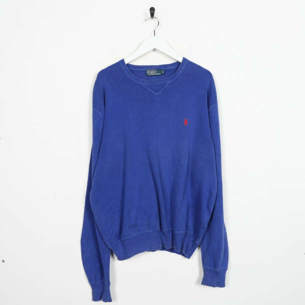 Vintage RALPH LAUREN Small Logo Knitted Sweatshirt Jumper Blue | Large L
