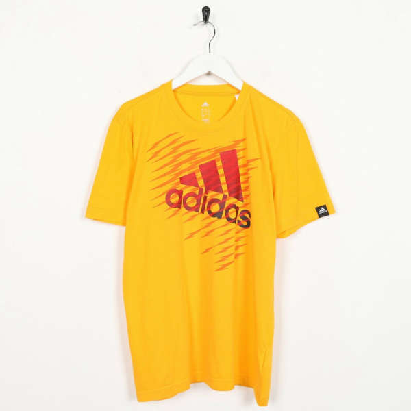 Vintage ADIDAS Big Graphic Logo T Shirt Tee Orange | Small S