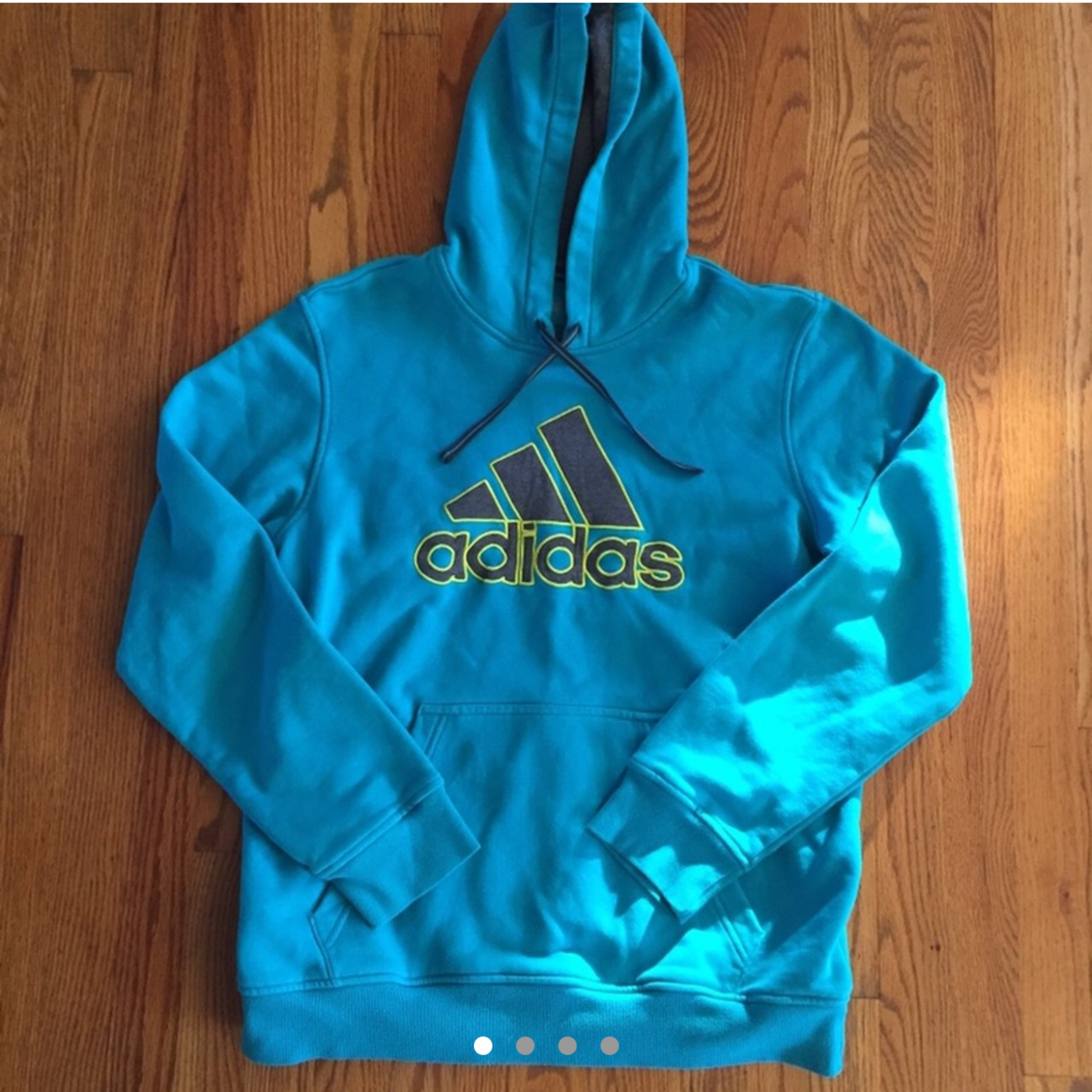 Adidas Blue And Lime Green Hoodie