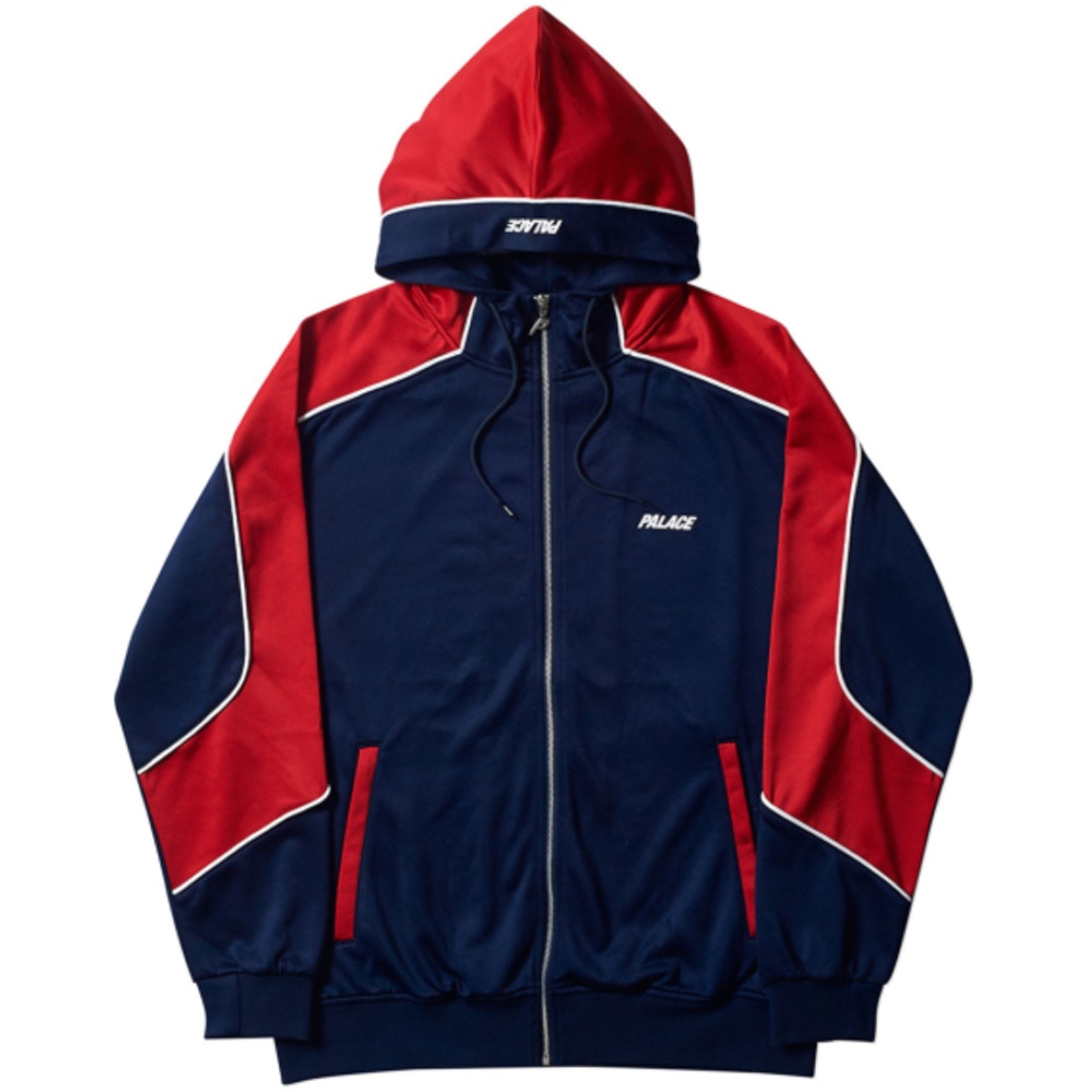 Palace Pipeline Hooded Track Jacket (Navy/Red) Xl