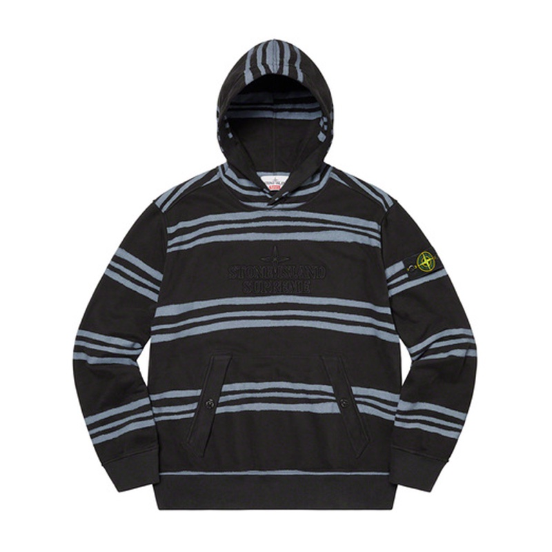 Supreme Stone Island Warp Stripe Hooded Sweatshirt Black