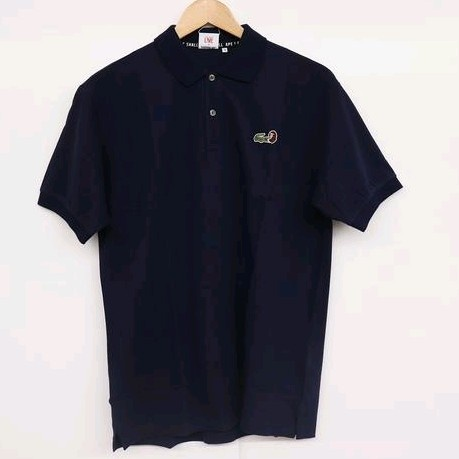 Bape Shirts (Button Ups) Navy Cotton Emroidered Logo Design
