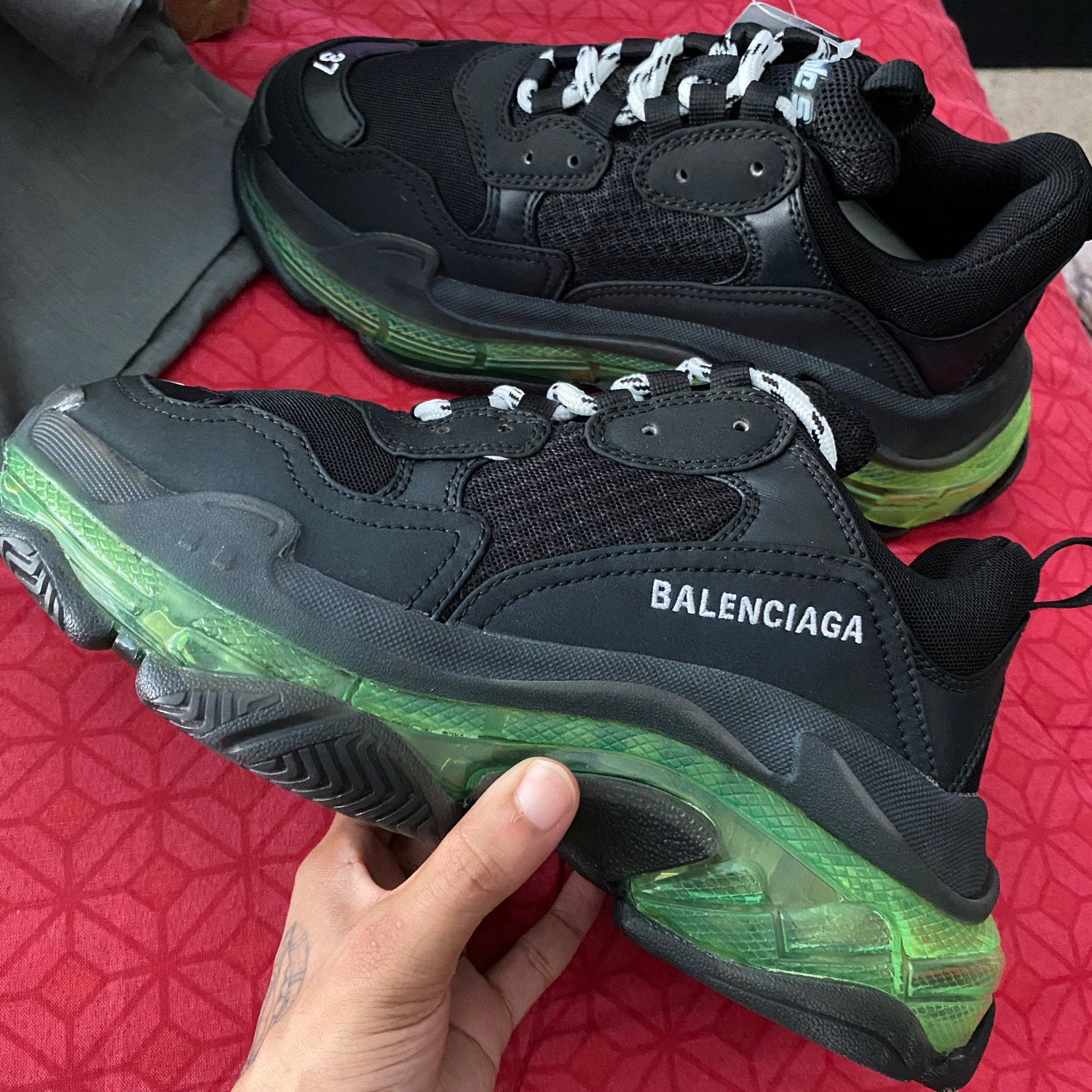 Unboxing Balenciaga Triple S Purple Blue White On Foot
