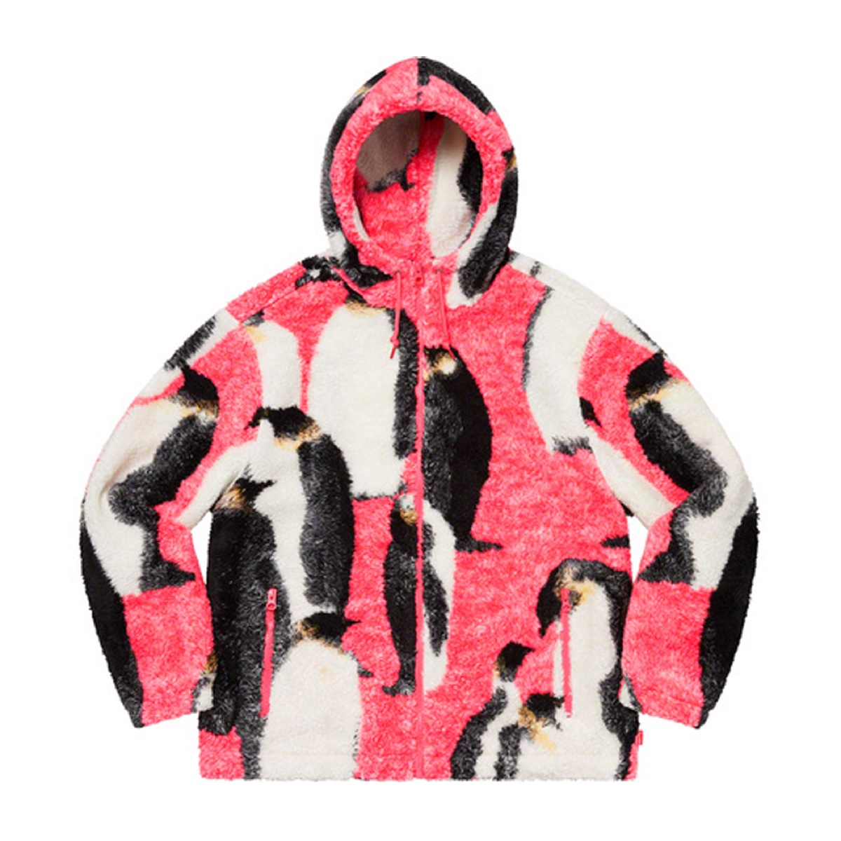 Penguins Hooded Fleece Jacket Pink