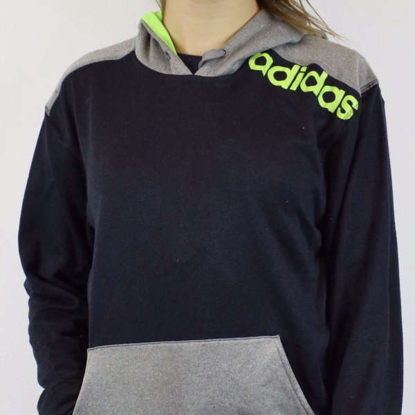 Vintage adidas hoodie sweater jumper sweatshirt in grey dark navy and electric green