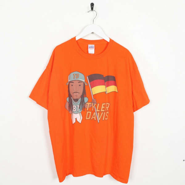 Vintage USA Print Tyler Davis Big Logo T Shirt Tee Orange XL