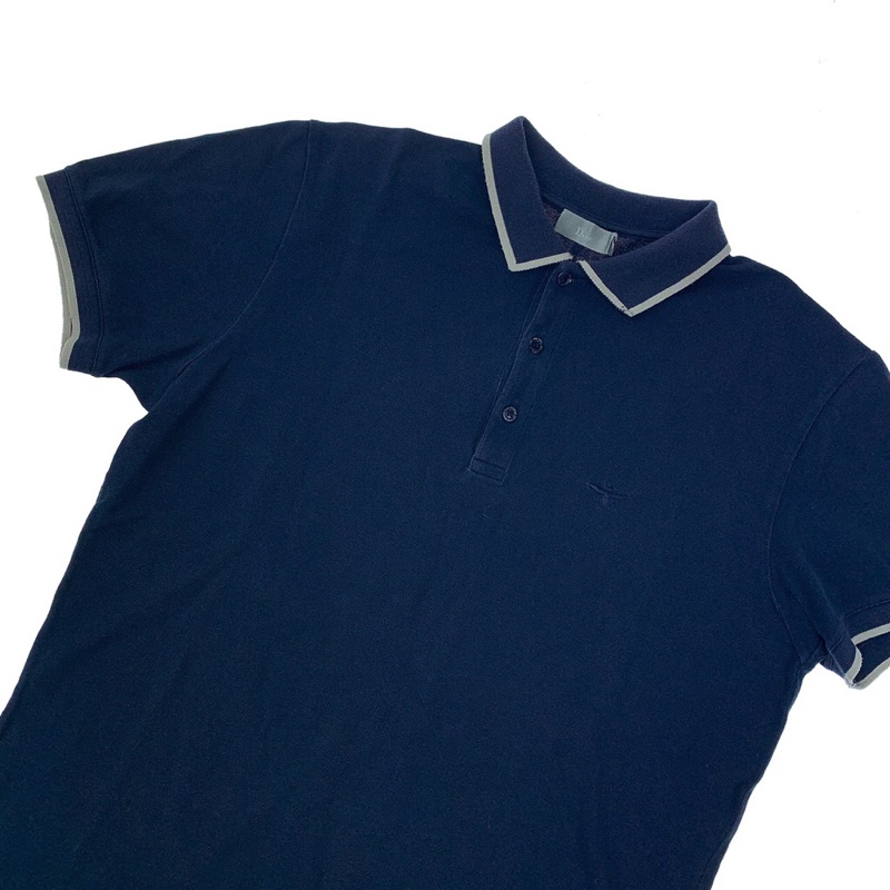 Dior Bee Embroidered Navy & Grey Polo